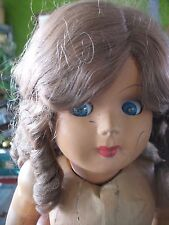 """Vintage Brevettat Celluloid / Hard Plastic Doll Stamped made in Italy Cares 26"""""""