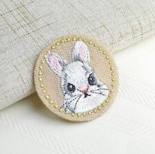 Embroidery Rabbit Cloth Patch Iron On Patch Sew Motif Applique Patch Gift DIY A