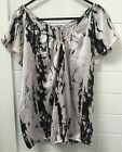 Target Hot Options Size 10 Black Grey Business Casual Blouse Top EUC