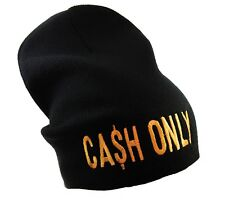 EXTRA LONG CASH CA$H ONLY BEANIE HAT (BLACK WITH GOLD LOGO)