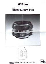 Nikon Nikkor 50mm f/1.8  J,E,F,G,S Anleitung manual mode d'emploi - (0658)