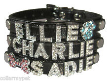 Small CUSTOM Black Leather Rhinestone Dog Collar PERSONALIZED 6 FREE Letters USA