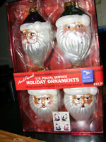 Set of 4 Hand Painted Glass Santa Face Ornaments USPS