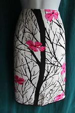 GRACE ELEMENTS Oriental Floral Silk Pencil Skirt Sz 14 Lined Side Slit Elegant