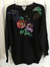 Vintage Victoria Jones VIBRANT FLORAL SEQUIN Sweater Black w/Bright Color Size L