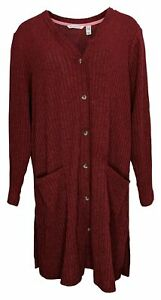 Isaac Mizrahi Live! Women's Sweater Plus Sz 2X Ribbed Cardigan Purple A387517