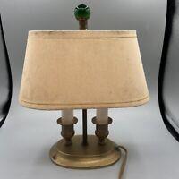 Vintage Excelsior Brass Shelf Desk Lamp Oval Base W/Shade Green Glass Finial