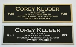 Corey Kluber nameplate for signed autographed baseball jersey photo glove bat