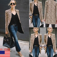 Fashion Women Mid-length Slim Casual Blazer Suit Lady Work Coat Outerwear USA