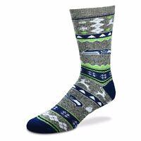 Seattle Seahawks-Grey NFL For Bare Feet Ugly Christmas Socks-SZ L