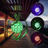 Solar LED Wind Spinner Color Changing Lamp Outdoor Yard Hanging Wind Chime Light