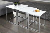 Designer Couchtisch Tisch Beistelltisch Zigon 3er Set Chrom in Weiß Hochglanz