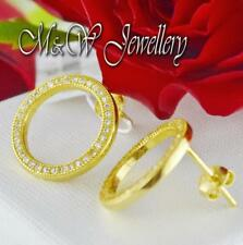 925 Sterling Silver Gold Plated Stud Earrings CIRCLES with White Zirconia
