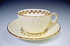 Minton Gold Cheviot Bone China Tea Cup and Saucer White/Cream/Gold