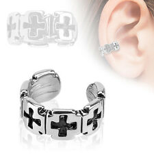 Iron Cross Pattern Rhodium Plated Brass Non Piercing Cartilage Ear Cuff Ring