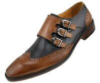 Asher Green Mens Two Tone Black & Tan Leather Oxford w/ Monkstrap : AG118-028