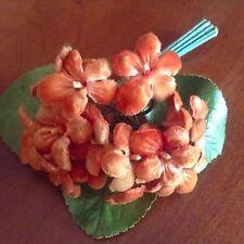 Vintage Millinery Flower Velvet Violet Lot German Brown Cinnamon Umber KR18n