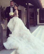 Tulle And Ostrich Fringe Zuhair Murad Inspired High Low Hem Dress