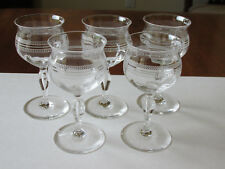 """(5) VINTAGE CLEAR OPTIC PANEL GEOMETRIC NEEDLE ETCHED CRYSTAL WINE GLASSES 4.5"""""""