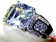 Cubic Zirconia Ring in Platinum Overlay Sterling Silver (Size 8) TGW 5.50 cts
