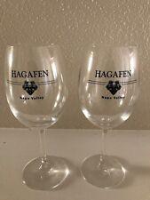 2 Hagafen Winery Napa Valley California Pair Wine Glasses