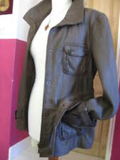 Ladies NEXT olive real leather JACKET COAT UK 18 16 belted safari biker military