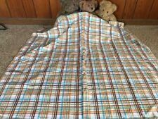 Handmade brown plaid flannel baby blanket,white,blue,tan,soft,cozy