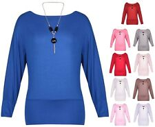 Womens Necklace Batwing Off Shoulder Ladies Stretch Long Sleeve Top Plus Size