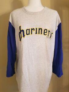 Mitchell & Ness Seattle Mariners white long-Sleeve vintage logo T-Shirt