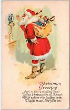 Merry Christmas    SANTA Full Suited with  MICROPHONE, TOYS  1928   Postcard