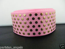 "7/8"" (22mm) Foil Printed Grosgrain Ribbon - By the Metre- #4437 Pink & Gold"