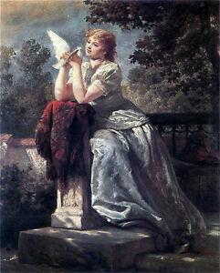 Art Oil painting female portrait Girl with a dove birds in sunset landscape art