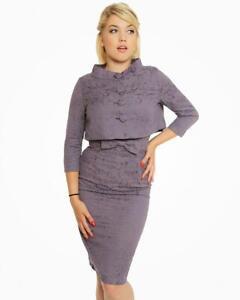 LINDY BOP Maybelle Dress & Jacket Set - Amethyst Brocade - UK 22 - NWT - 1950's