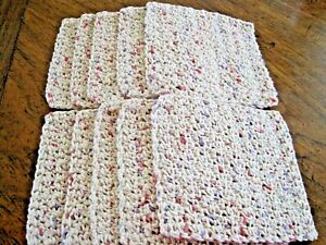 "10 Crochet  Dishcloths / Washcloths 100% Cotton - Handmade - 6 ""- panorama"