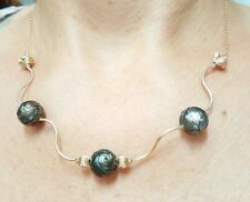 Flower tribal carved black Tahitian pearl solid 14k gold wave necklace