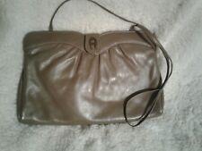 Etienne Aigner Taupe Brown Leather Shoulder Bag Crossbody Purse Clutch Hand Bag