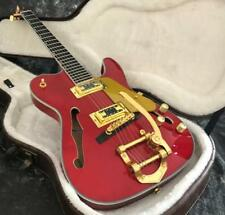Semi Hollow Body F Hole TL Electric Guitar Archtop Body Bigsby Bridge Gold Hardw