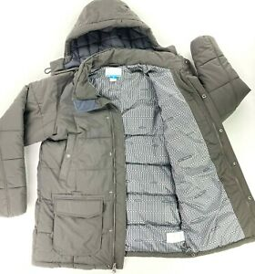 Columbia Men's Long Puffer Jacket Parka Thermal Coil Nylon Gray • LARGE