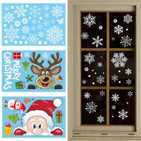 1PC Christmas Window Sticker Cartoon Santa Claus Elk Snowflake Fridge Wall Decal