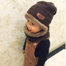 2Pcs Winter Knitted Hat Scarf Set Kids Boys Girls Warm Cap with Neck Warmer Set