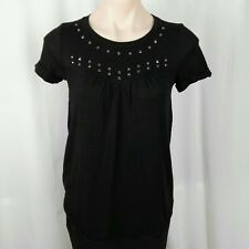 Country Road Women's Top Size XXS Black Short Roll Sleeve Stud Detail Empire