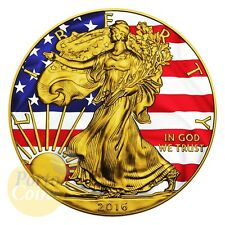 2016 1$ 1 oz Silver American Eagle Patriotic with Box and COA 24K Gold