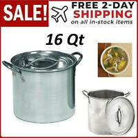 16 Qt Stainless Steel Stock Pot Quart Large Kitchen Soup Big Cooking