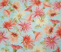 Paisley Daisley BTY Tina Higgens VIP Yellow Pink Coral Green Floral on Blue