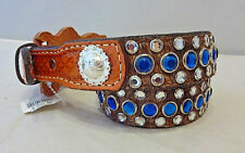 New Double J Saddlery Belt Western Hair On Leather Blue Clear Rhinestones 28