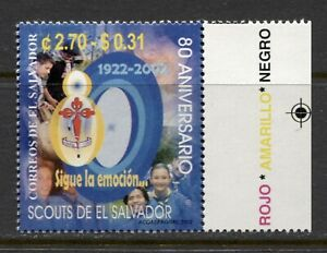EL SALVADOR 2002, SCOUTS, SCOUTING - 80TH ANNIVERSARY, Scott 1573, MNH