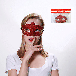 MASQUERADE MASK-RED WITH GOLD PATTERN FANCY DRESS ACCESSORIES