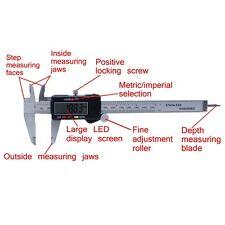 "LCD Digital Electronic Gauge Stainless Steel Vernier 150mm/6"" Caliper Micrometer"