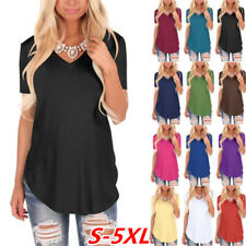 Women Summer Short Sleeve V Neck Solid Blouse Casual Loose T Shirt Plus Size