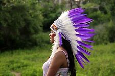 Indian headdress, white and purple feather headpiece, Indian warbonnet